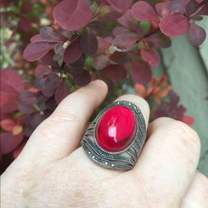 Jewelry - Sterling Silver Red Ring
